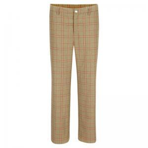 trousers, straight, checked logo